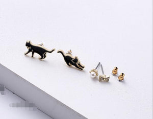 Black and White Cat Stud Earrings