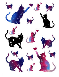 Galaxy Cat Temporary Tattoo Set
