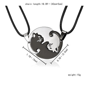 Yin & Yang Kitties Couple Necklaces for Two