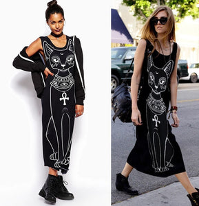 Casual Cat Print Boho Maxi For Summer