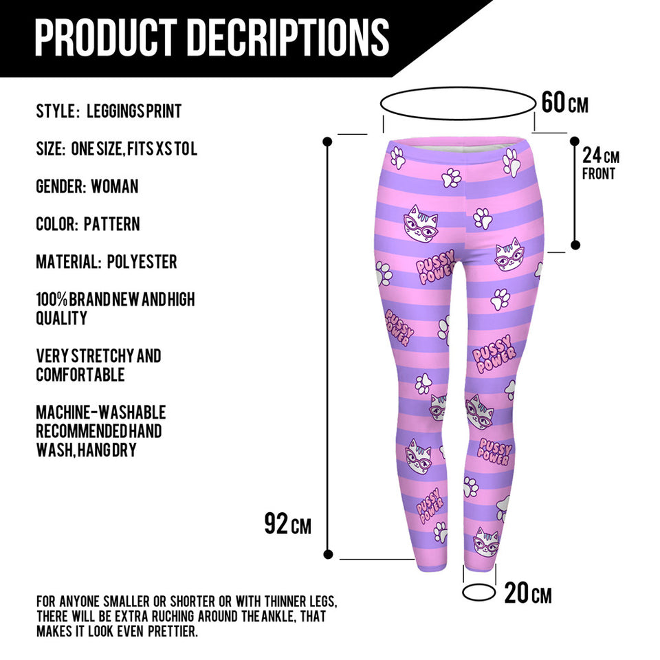 Pussy Power Pink Stripes Leggings