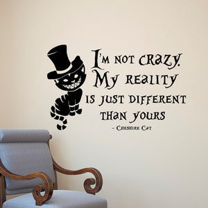 Alice In Wonderland Wall Sticker/Decal Cheshire Cat Quotes