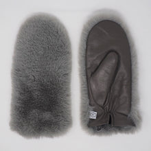 NEW! Gray Leather + Faux Fur Driving Mittens