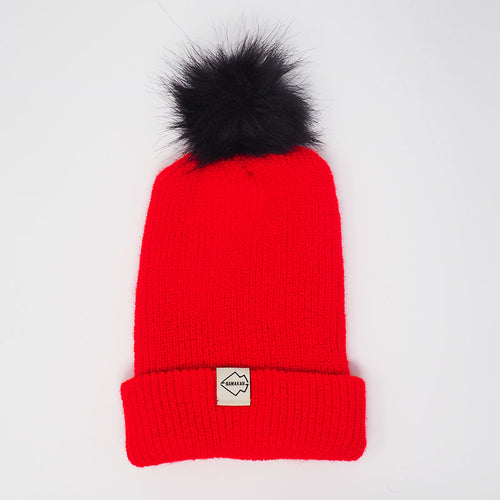 Red + Black + White hat and pom pom