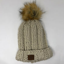Cream Chunky Beanie with Big Puff