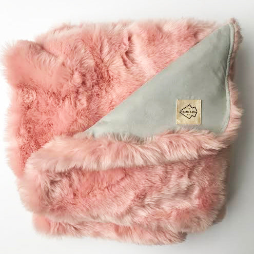 Luxurious Pink Faux Fur Throw Blanket