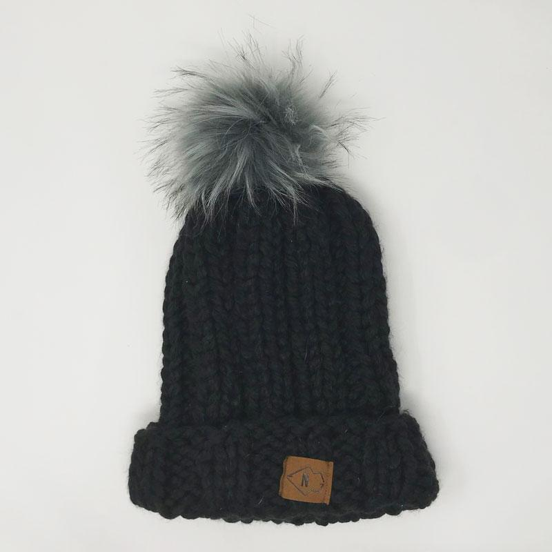 Black Chunky Beanie with Big Puff
