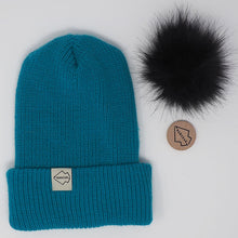 Teal + Black Hat Combo pom pom