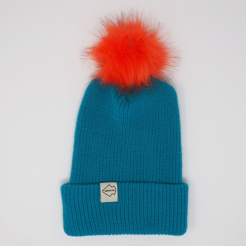 Teal + Orange Hat Combo pom pom