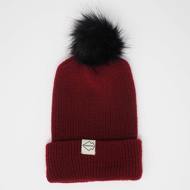 Burgundy + Black pom pom hat