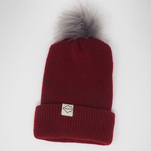 Burgundy + Gray Hat pom pom