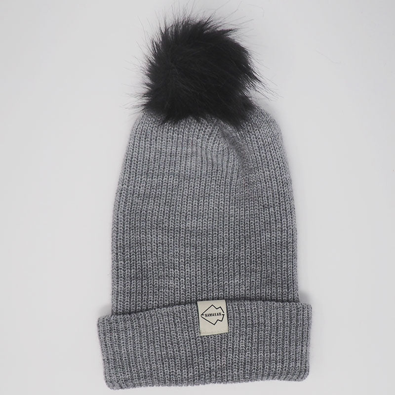 Gray + Black Hat Combo pom pom hat