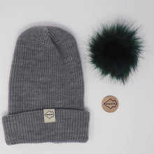 Gray + Emerald Hat Combo pom pom