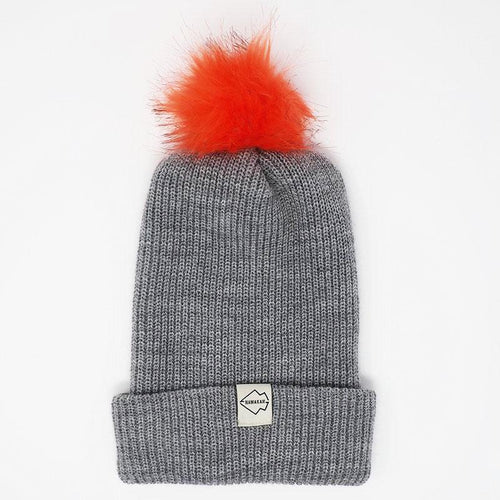 Gray + Natural Hat Combo pom pom
