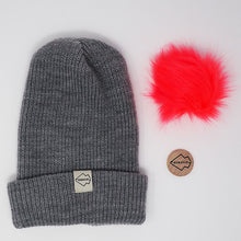Gray + Watermelon Hat Combo pom pom