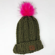 Olive Chunky Beanie with Big Puff