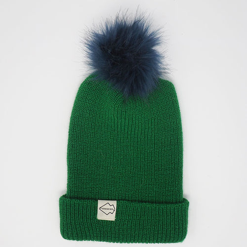 Green + Navy Hat Combo pom pom
