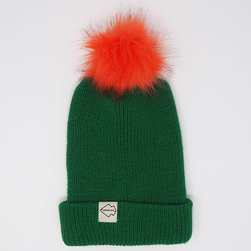 Green + Orange Hat Combo pom pom