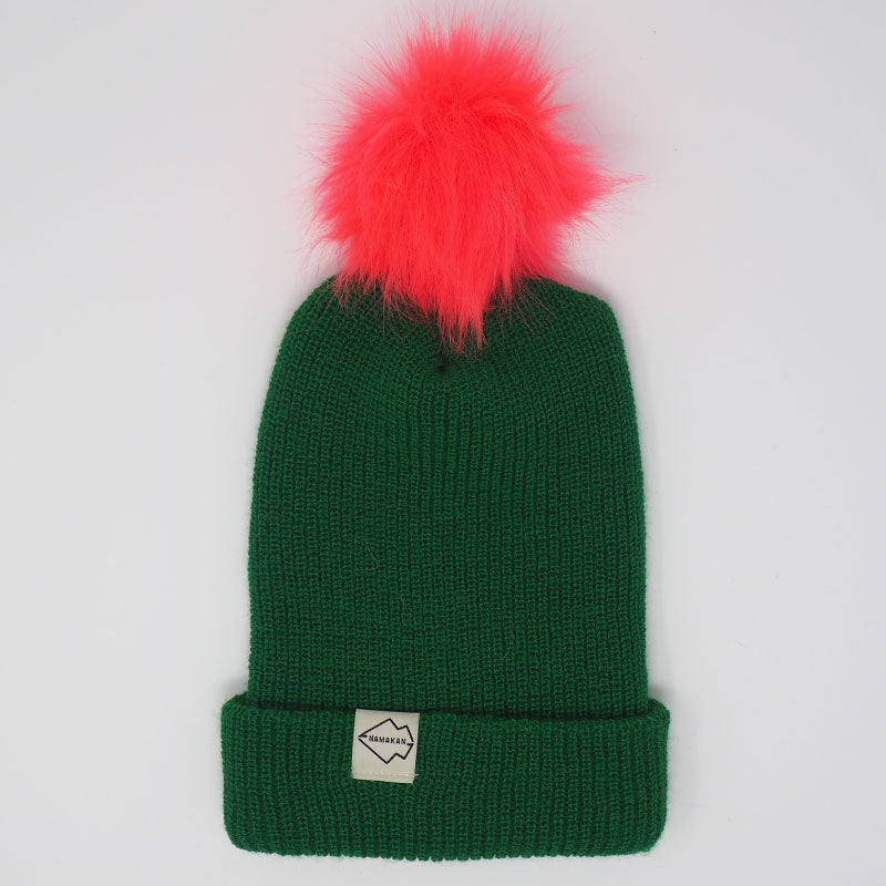 Green + Watermelon Hat Combo pom pom