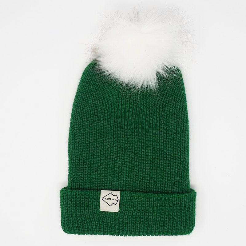 Green + White Hat Combo pom pom