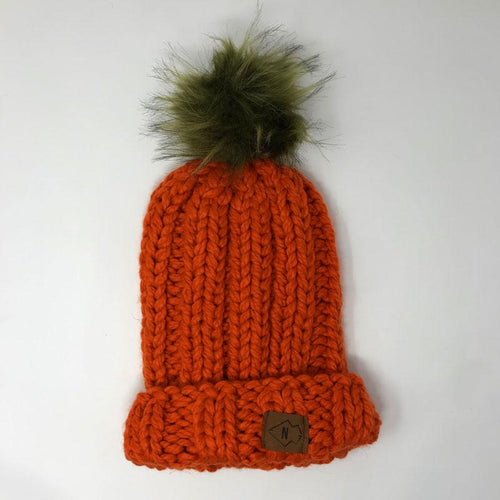 Orange Chunky Beanie with Big Puff