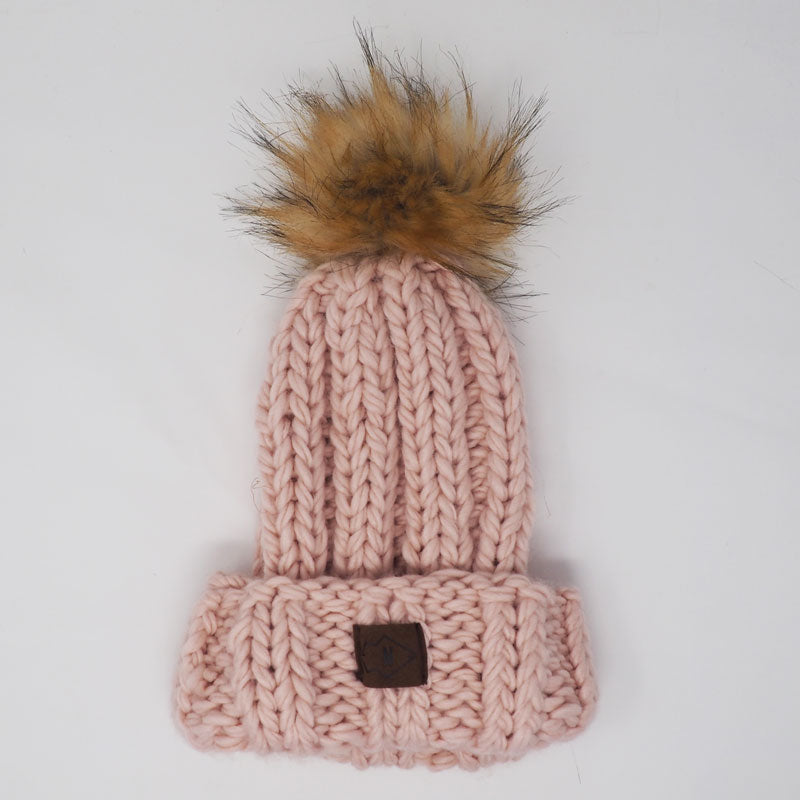 Rose Chunky Beanie with Big Ol' Puff