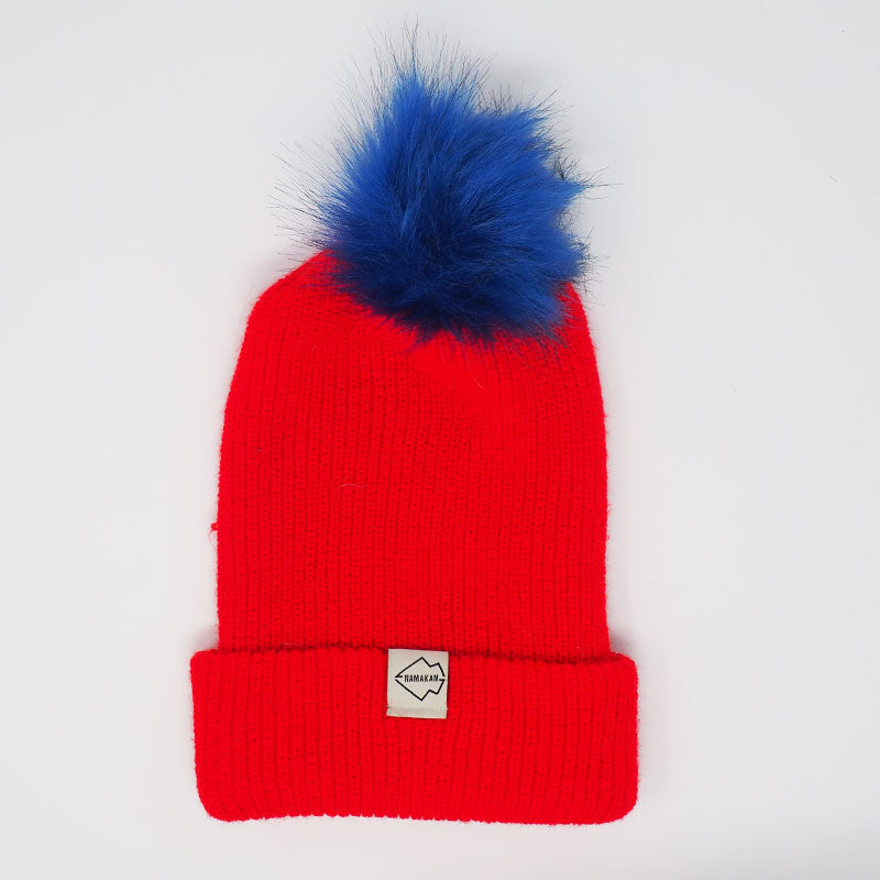Red + Blue Hat Combo pom pom