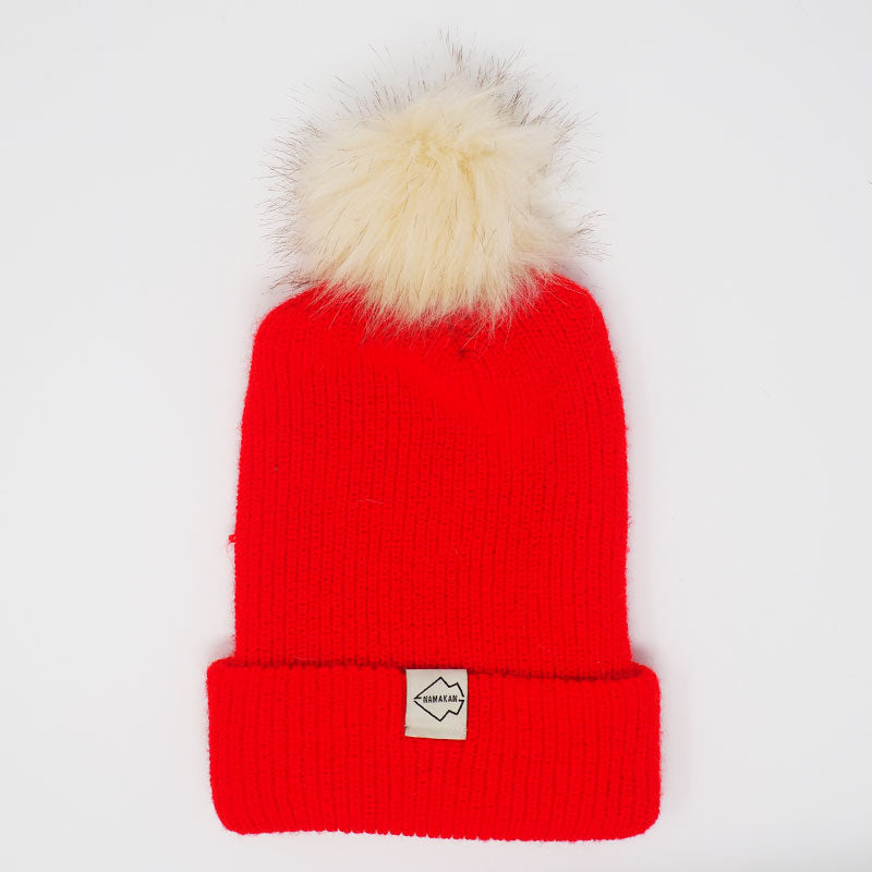 Red + Cream Hat Combo pom pom