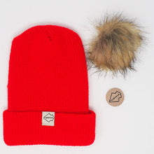 Red + Natural Hat Combo pom pom