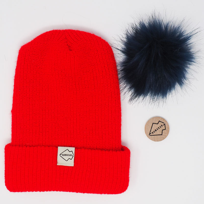 Red + Navy Hat Combo pom pom