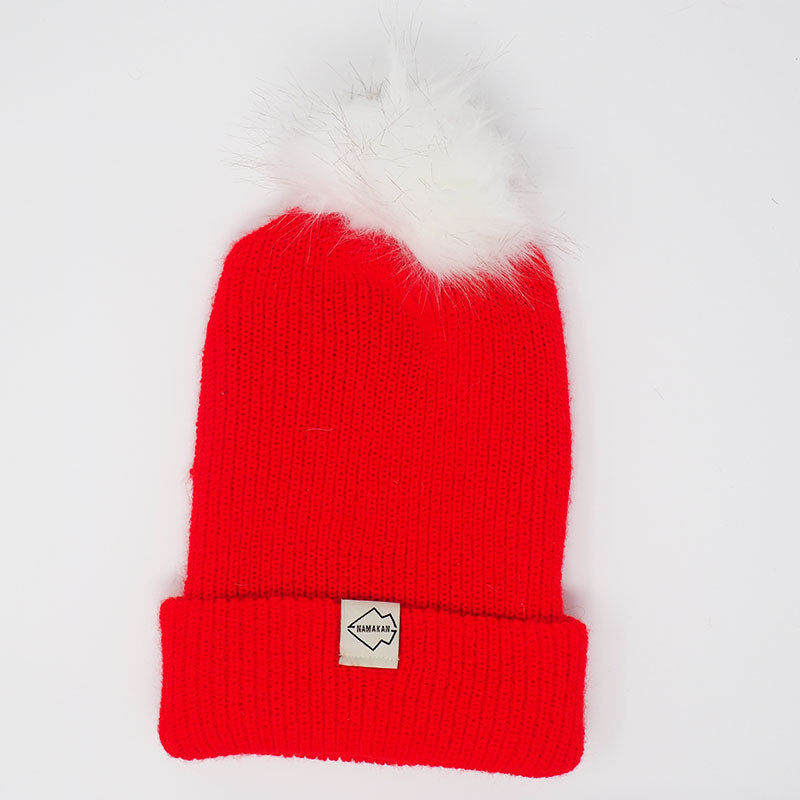 Red + White Hat Combo pom pom