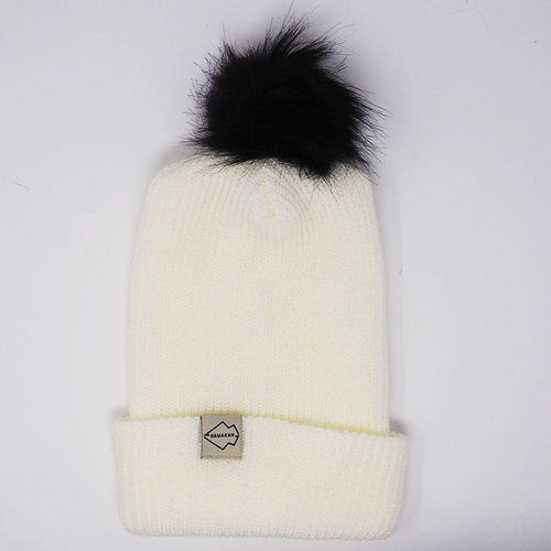 White + Black Hat Combo pom pom