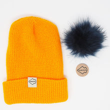 Yellow + Navy Hat Combo pom pom