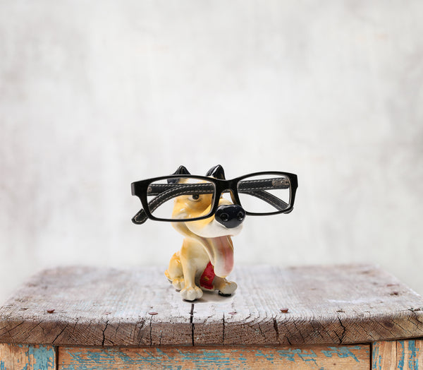 Something Cute Dog Figurine Glasses Holder in Yellow