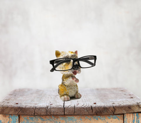 Something Cute Dog Figurine Glasses Holder in White and Yellow