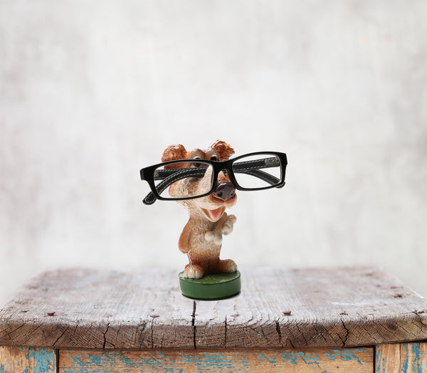 Something Cute Dog Figurine Glasses Holder in Brown