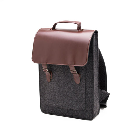 Something Sleek Felt Backpack in Dark Grey