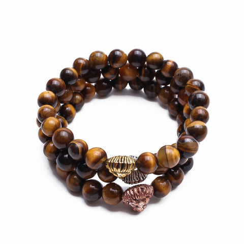 Bundle of 3 Beaded Zinc Alloy Lion Bracelets