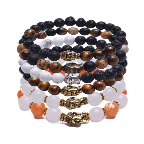 Bundle of 6 Beaded Zinc Alloy Buddha Bracelets