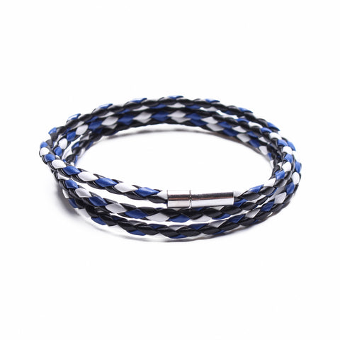 Coil bracelet blue and white