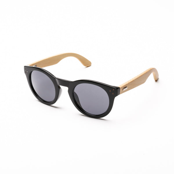 Something Wooden Round Sunglasses in Black