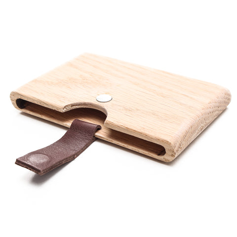 OAK Brown Wooden Card Holder
