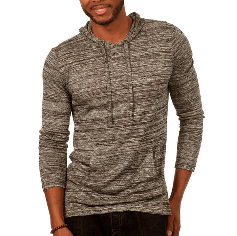 Something Standard Long Sleeve Pullover Hoodie in Grey