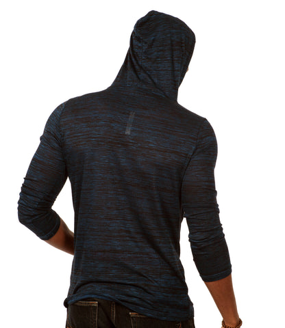 Something Standard Long Sleeve Pullover Hoodie in Dark Blue