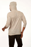 Something Standard Long Sleeve Pullover Hoodie in Light Grey