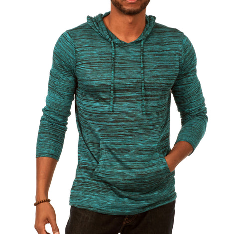 Something Standard Long Sleeve Pullover Hoodie in Medium Blue