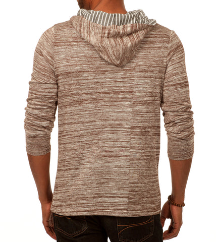 Something Relaxing Long Sleeve Henley Pullover Hoodie in Grey