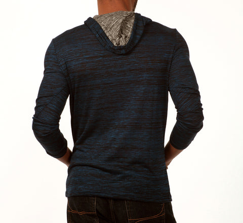 Something Relaxing Long Sleeve Henley Pullover Hoodie in Dark Blue