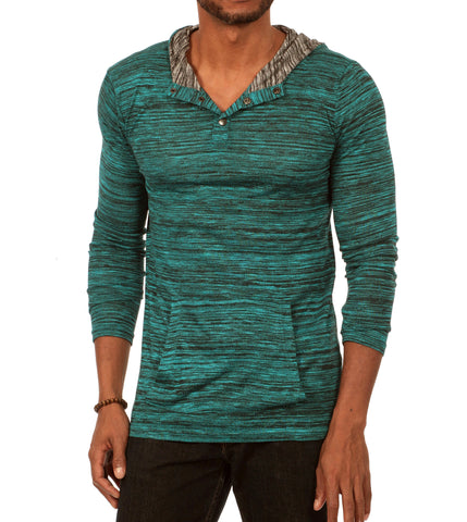 Something Relaxing Long Sleeve Henley Pullover Hoodie in Medium Blue