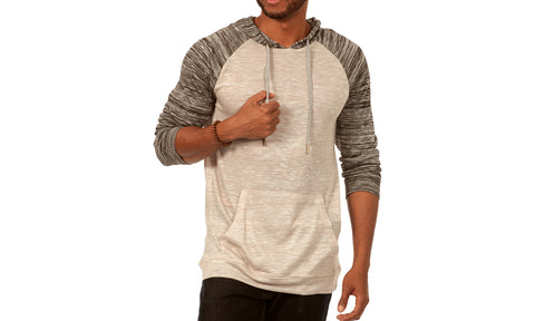 Something Scarred Raglan Cut Baseball Hoodie in Grey/Grey